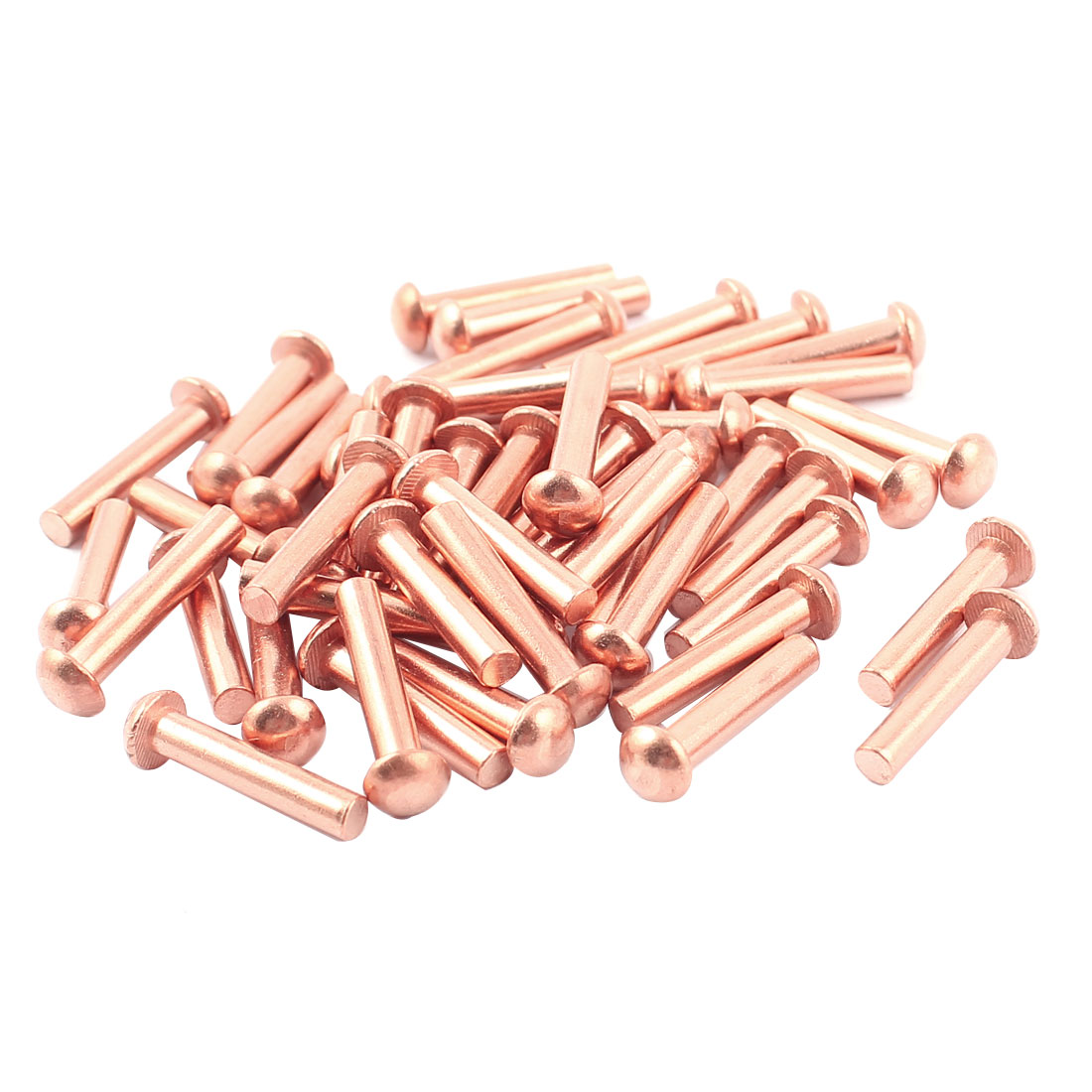 "50 Pcs 5/32"" x 25/32"" Round Head Copper Solid Rivets Fasteners"