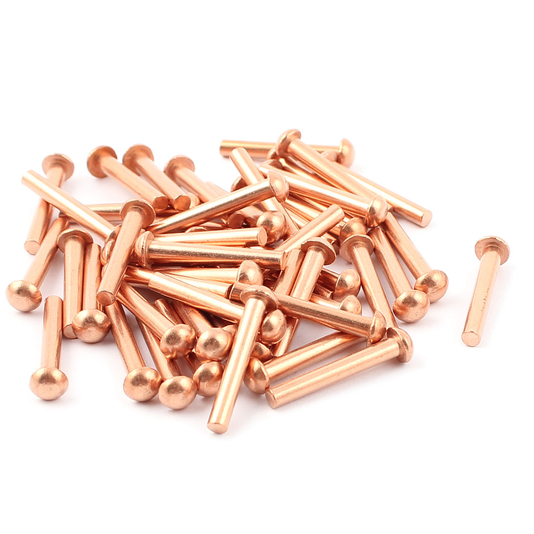 "50 Pcs 1/8"" x 25/32"" Round Head Copper Solid Rivets Fasteners"