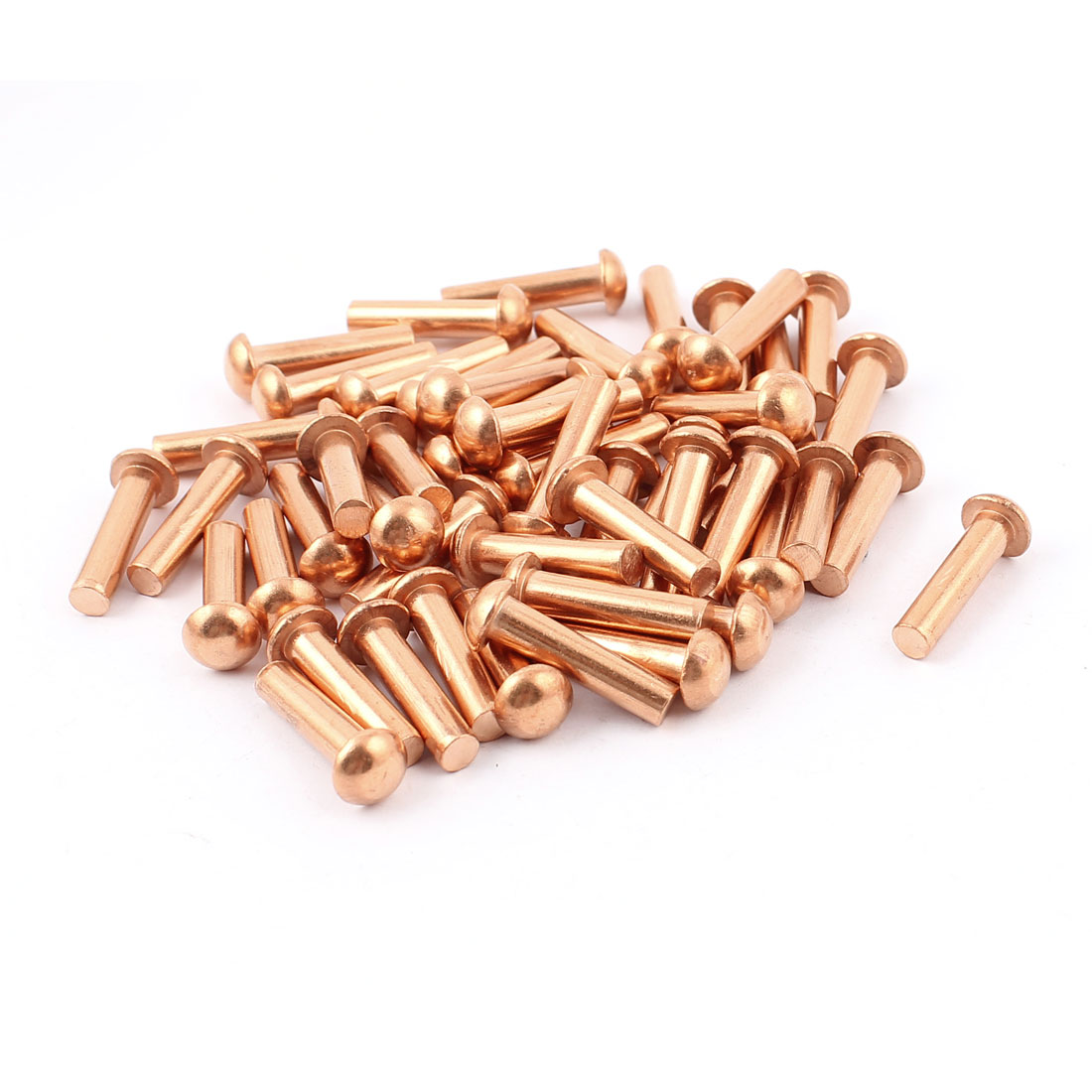 "50 Pcs 3/16"" Diameter 25/32"" L Shank Round Head Copper Solid Rivets Fasteners"