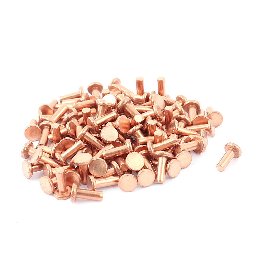 "100 Pcs 1/8"" Diameter 5/16"" Long Shank Flat Head Bolts Copper Solid Rivets Fasteners"