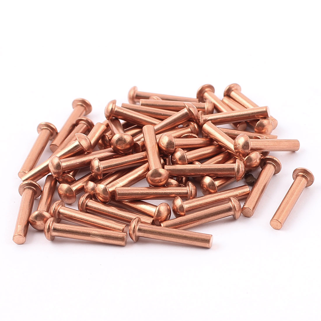 "50 Pcs 1/8"" x 5/8"" Round Head Copper Solid Rivets Fasteners"
