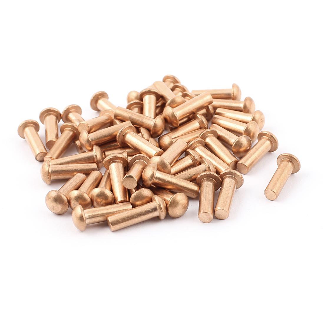 "50 Pcs 3/16"" Diameter 5/8"" L Shank Round Head Copper Solid Rivets Fasteners"