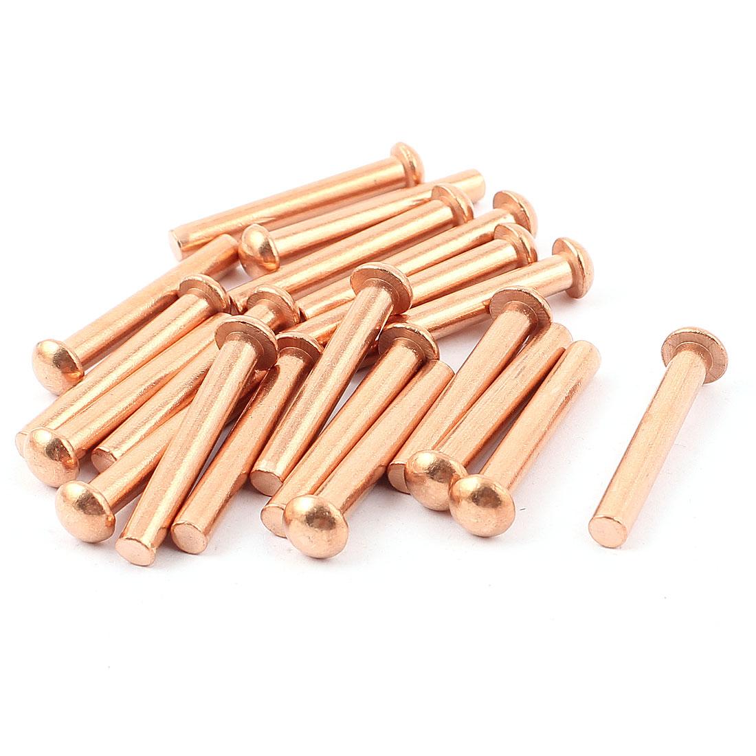 "20 Pcs 3/16"" Diameter 1 3/8"" L Shank Round Head Copper Solid Rivets Fasteners"
