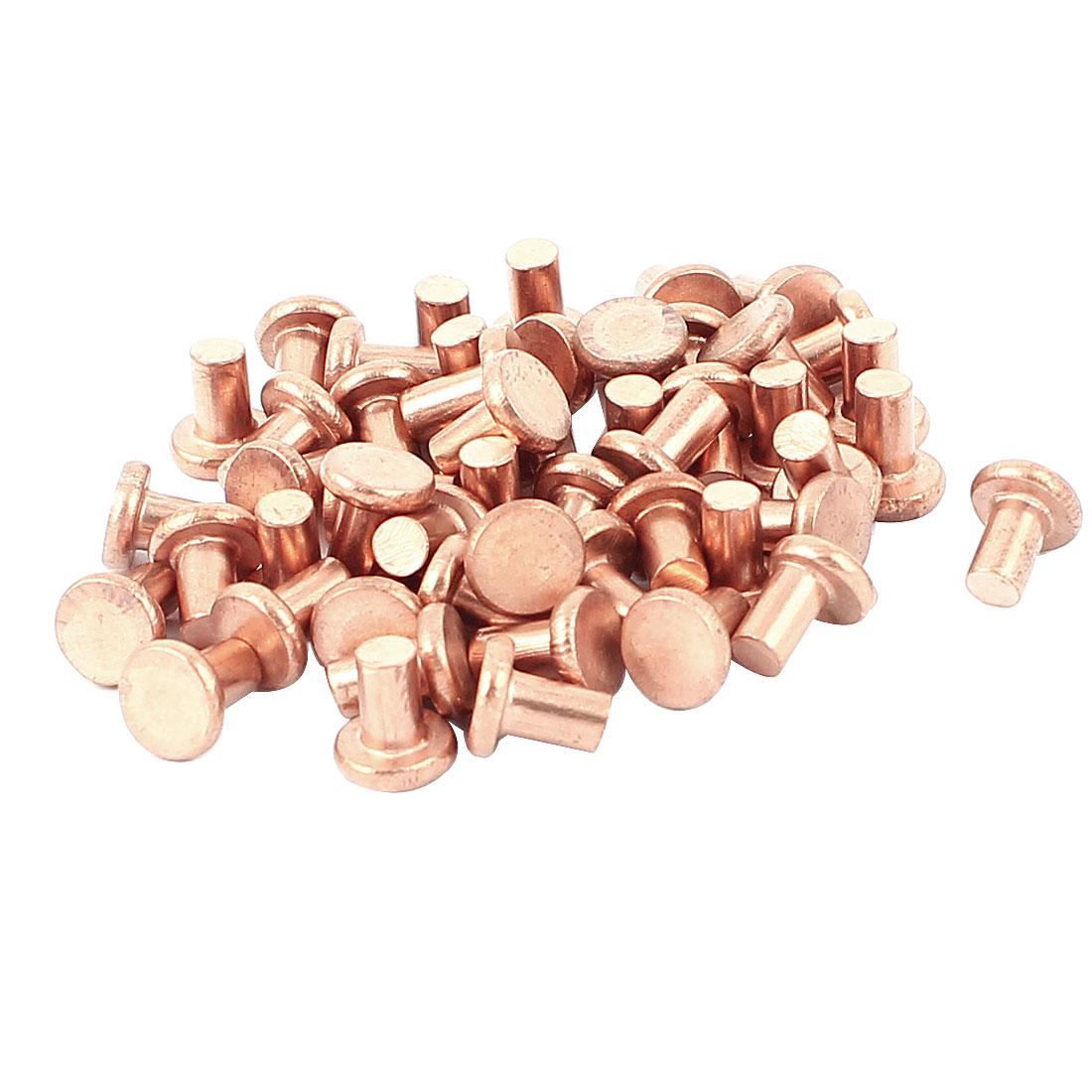 "50 Pcs 5/32"" Diameter 15/64"" Long Shank Flat Head Copper Solid Rivets Fasteners"
