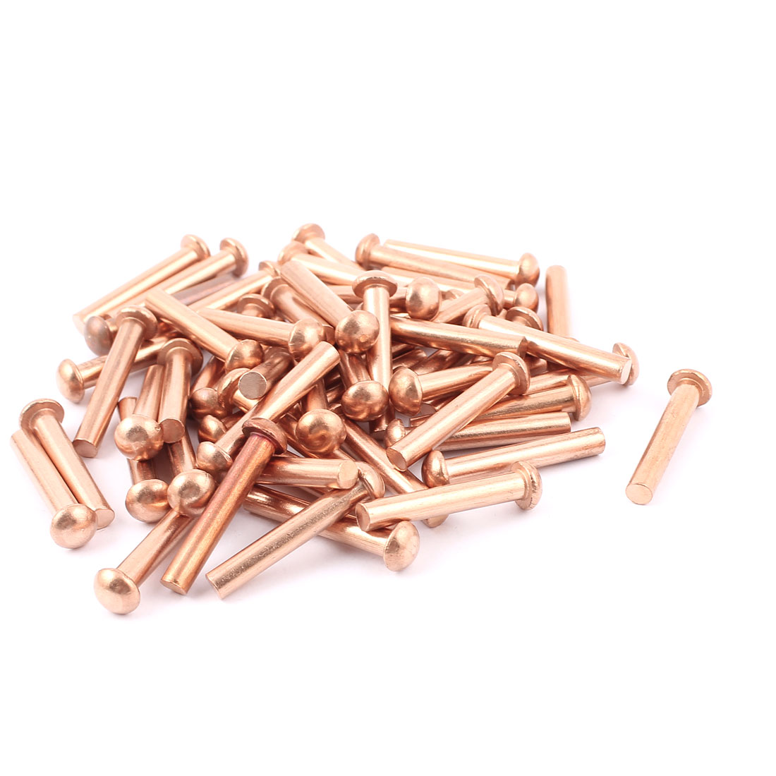 "50 Pcs 3/16"" Diameter 1 3/16"" L Shank Round Head Copper Solid Rivets Fasteners"