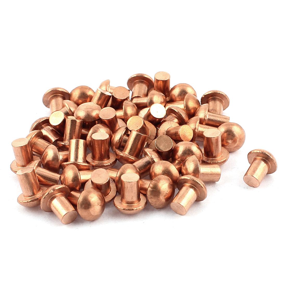 "50 Pcs 1/4"" Diameter 5/16"" L Shank Copper Round Head Solid Rivets Fasteners"