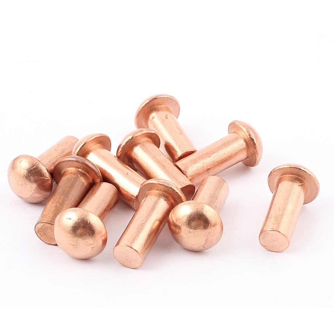 "10 Pcs 5/16"" Dia. 25/32"" L Shank Copper Round Head Solid Rivets Fasteners"