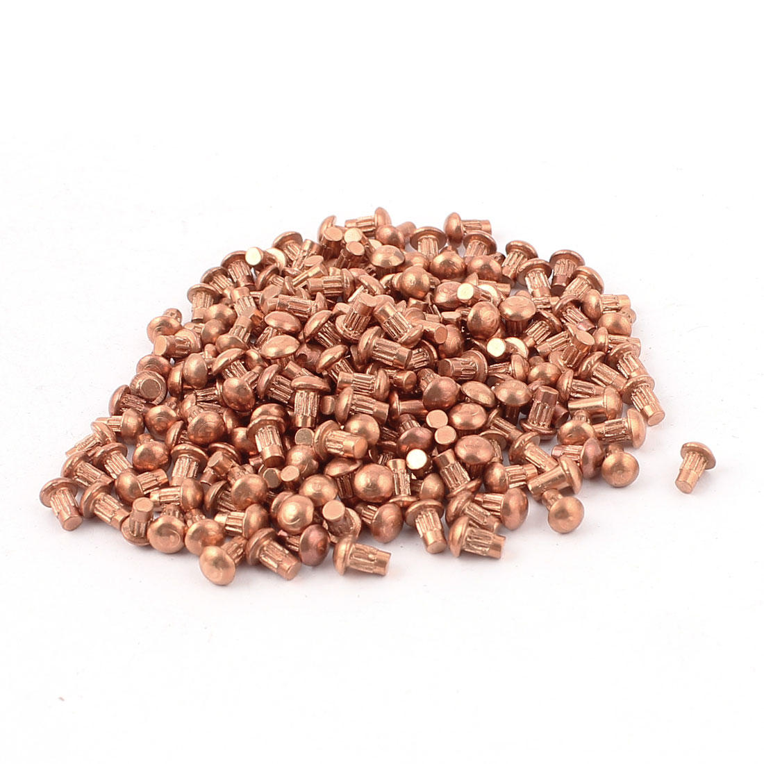 "200 Pcs 3/32"" x 5/32"" Copper Round Head Solid Rivets Knurled Shanks"