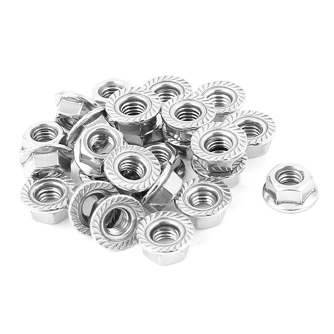 25 Pcs 13mm Dia. Head Stainless Steel Serrated Flange Metric Hex Lock Nuts M6