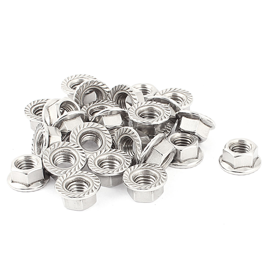 25 Pcs 10mm Height 1/8 BSP Thread Stainless Steel Serrated Hex Flange Lock Nuts