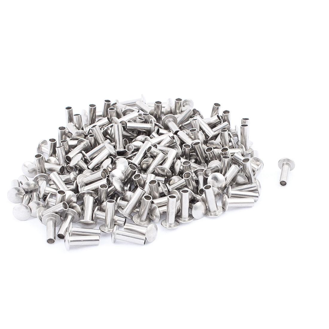 200 Pcs M4 x 12mm Nickel Plated Oval Head Semi-Tubular Rivets Silver Tone