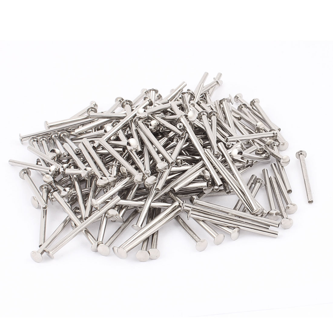 200 Pcs M3 x 40mm Nickel Plated Truss Head Semi-Tubular Rivets