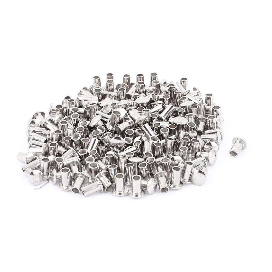 """200 Pcs 15/64"""" D Shank 25/64"""" L Nickel Plated Oval Head Semi Tubular Rivets Silver Tone"""