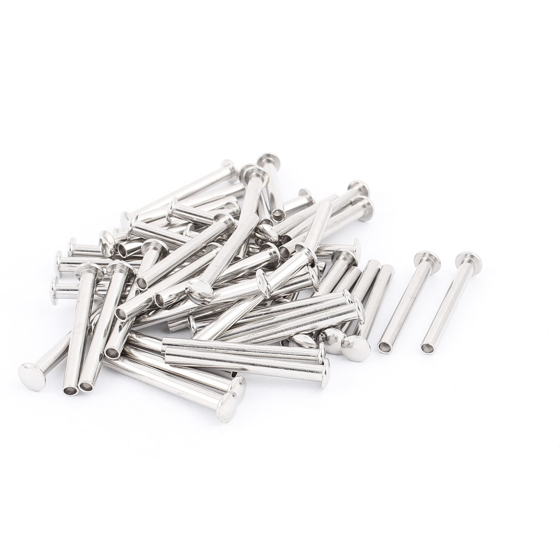 "50 Pcs 13/64"" x 1 25/32"" Nickel Plated Oval Head Semi-Tubular Rivets Silver Tone"
