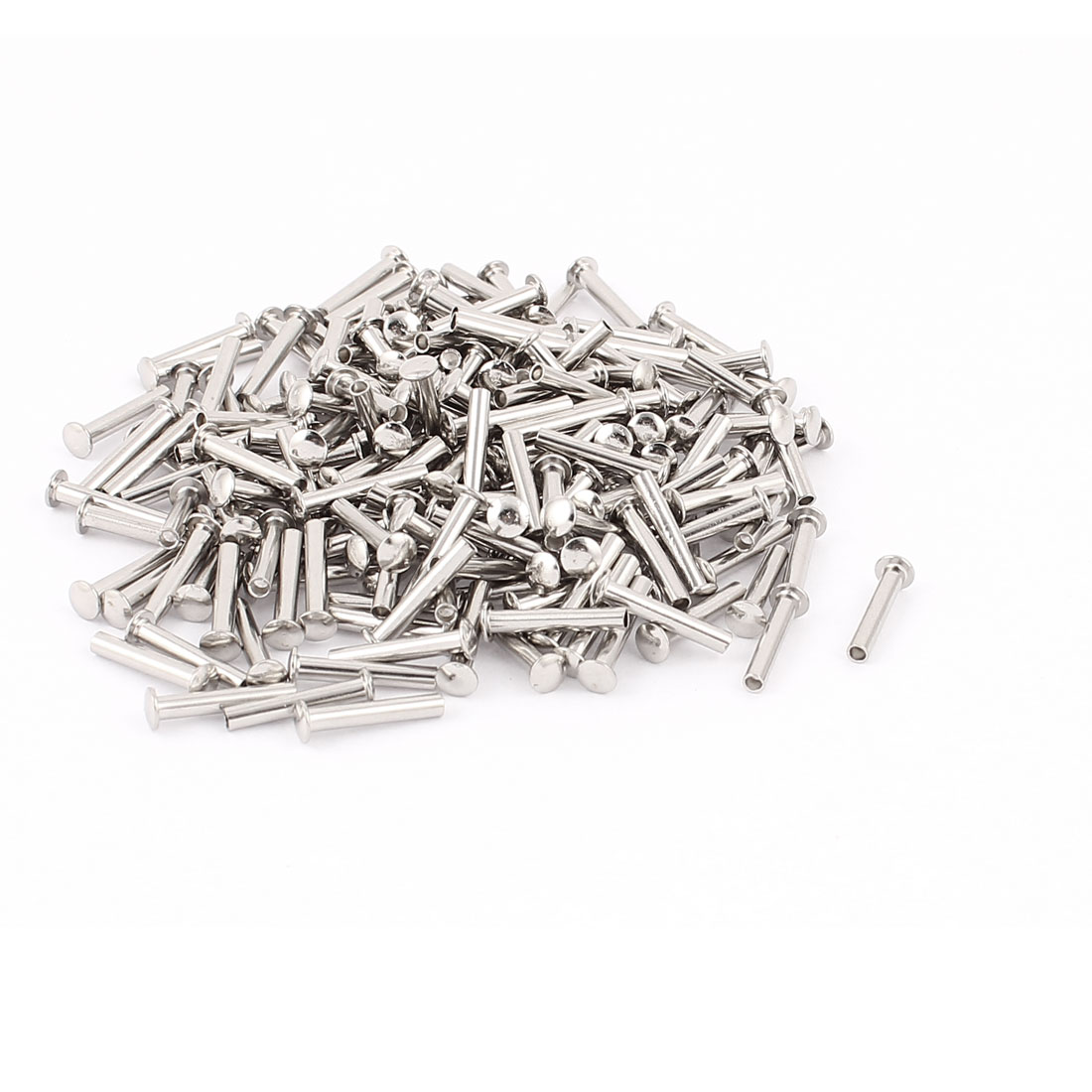 "200 Pcs 3/32"" x 35/64"" Nickel Plated Fasteners Oval Head Semi Tubular Rivets Silver Tone"