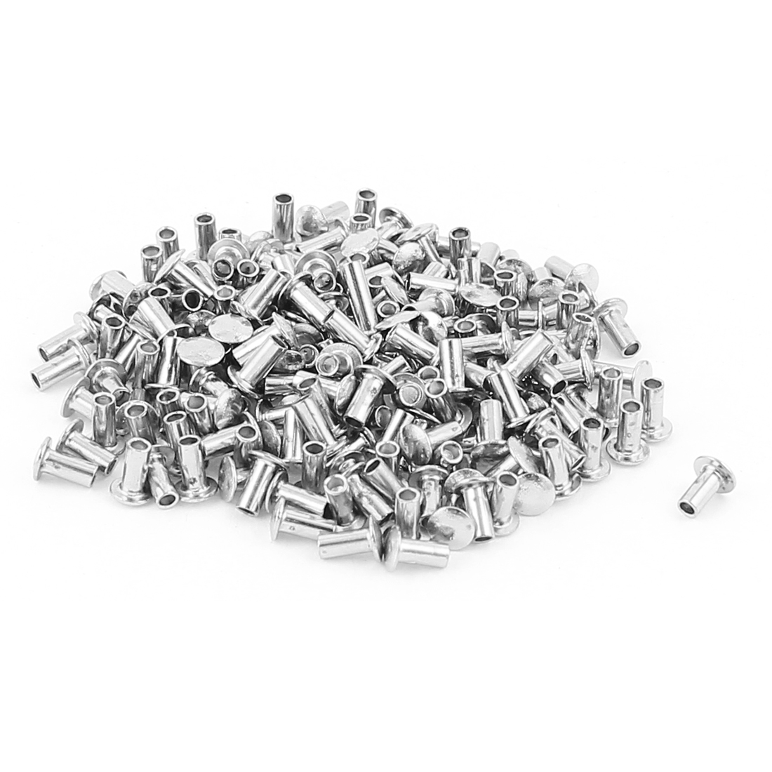 "200 Pcs 5/64"" x 5/32"" Nickel Plated Fasteners Oval Head Semi Tubular Rivets Silver Tone"
