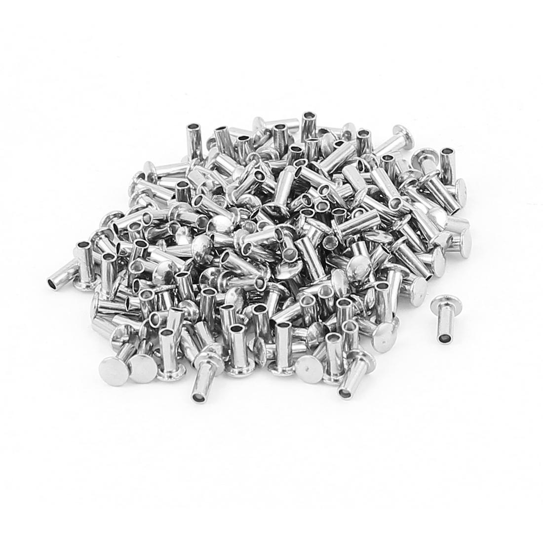 """200 Pcs 5/64"""" x 13/64"""" Nickel Plated Fasteners Oval Head Semi Tubular Rivets Silver Tone"""