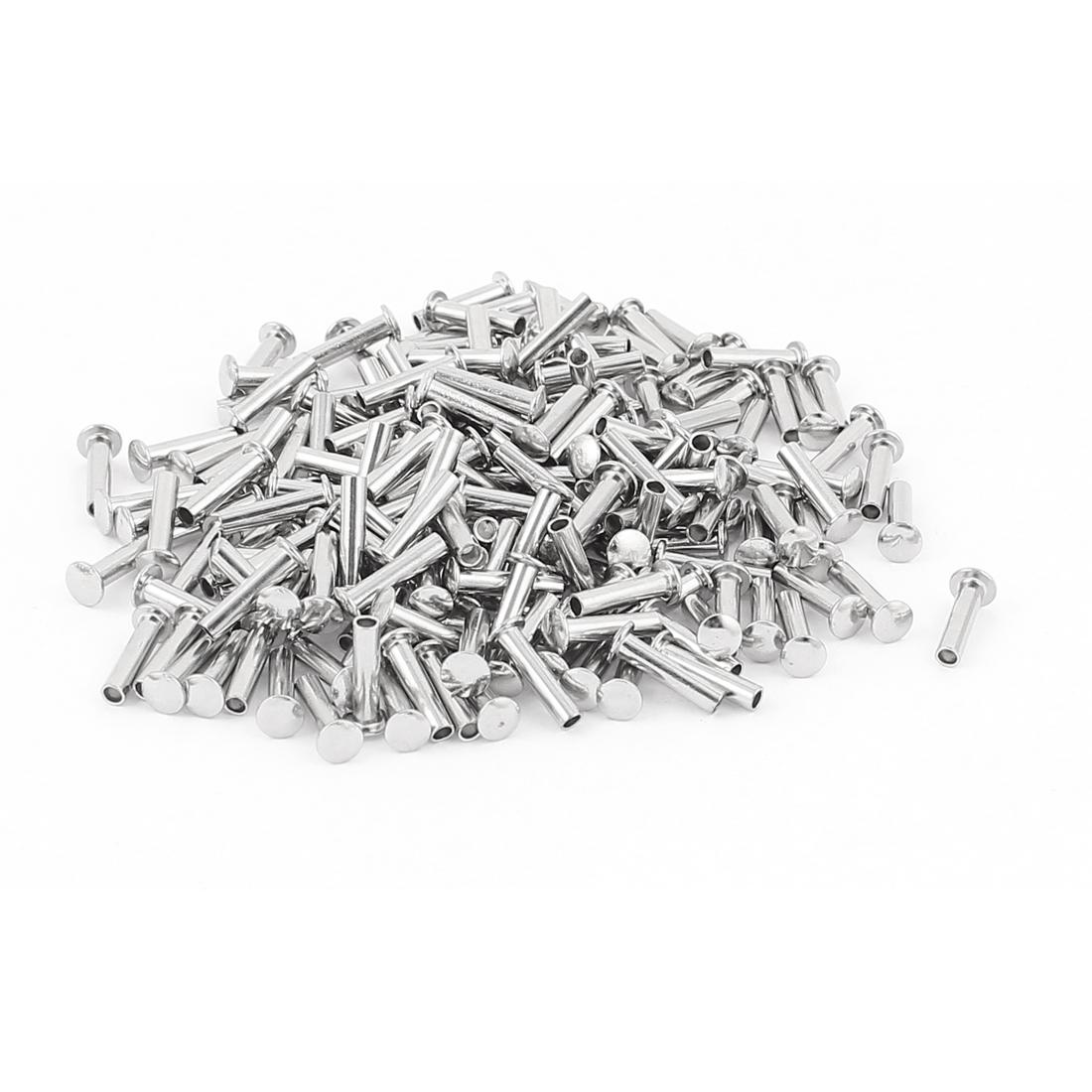 """200 Pcs 3/32"""" x 25/64"""" Nickel Plated Fasteners Oval Head Semi Tubular Rivets Silver Tone"""