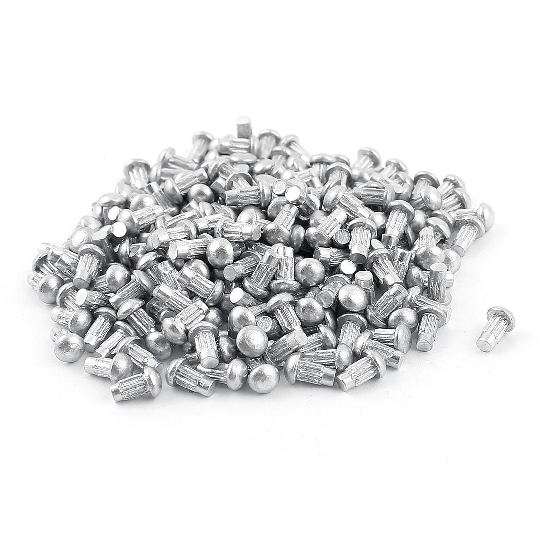 "200 Pcs 3/32"" x 13/64"" Aluminium Round Head Solid Rivets Knurled Shanks"