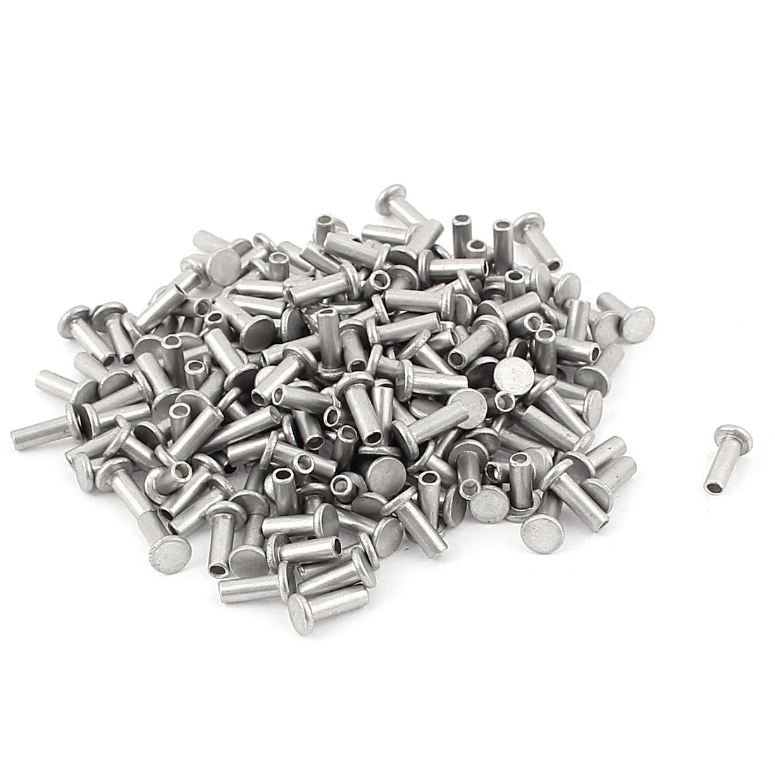 200 Pcs M3 x 8mm Aluminum Flat Head Semi-Tubular Rivets Silver Tone