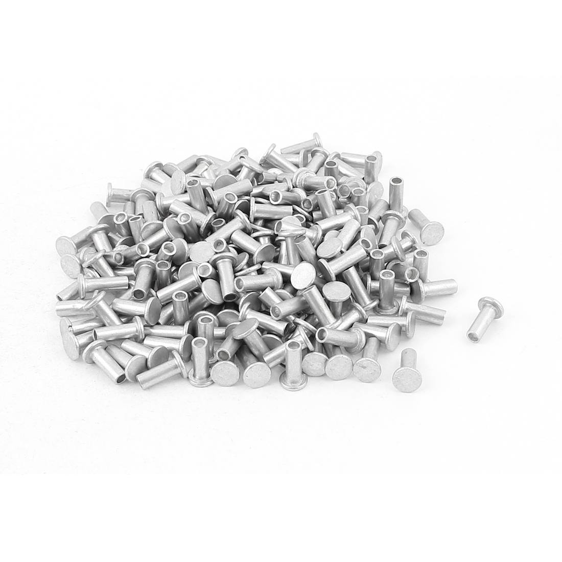 200 Pcs M4 x 10mm Aluminum Flat Head Semi-Tubular Rivets Silver Tone