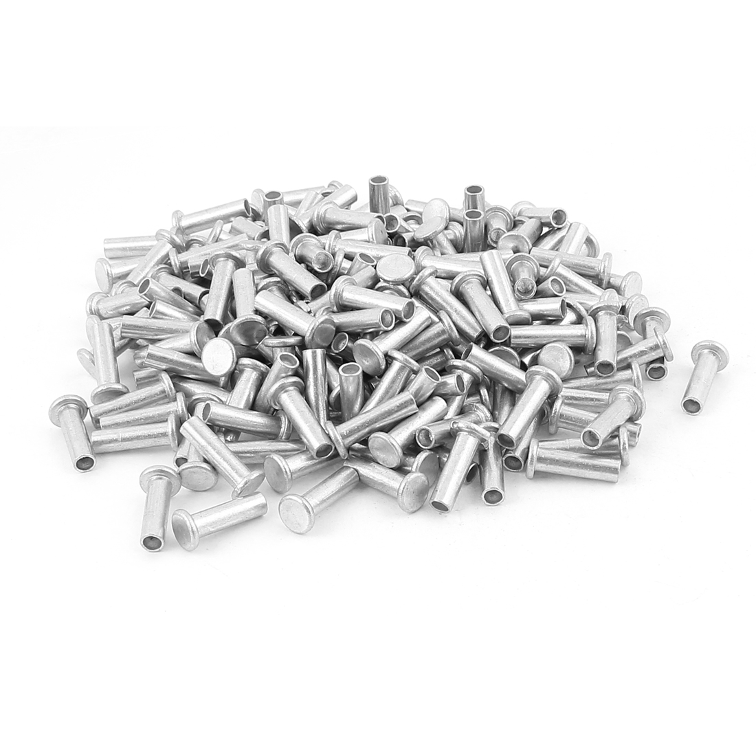 200 Pcs M6 x 20mm Aluminum Flat Head Semi-Tubular Rivets Silver Tone