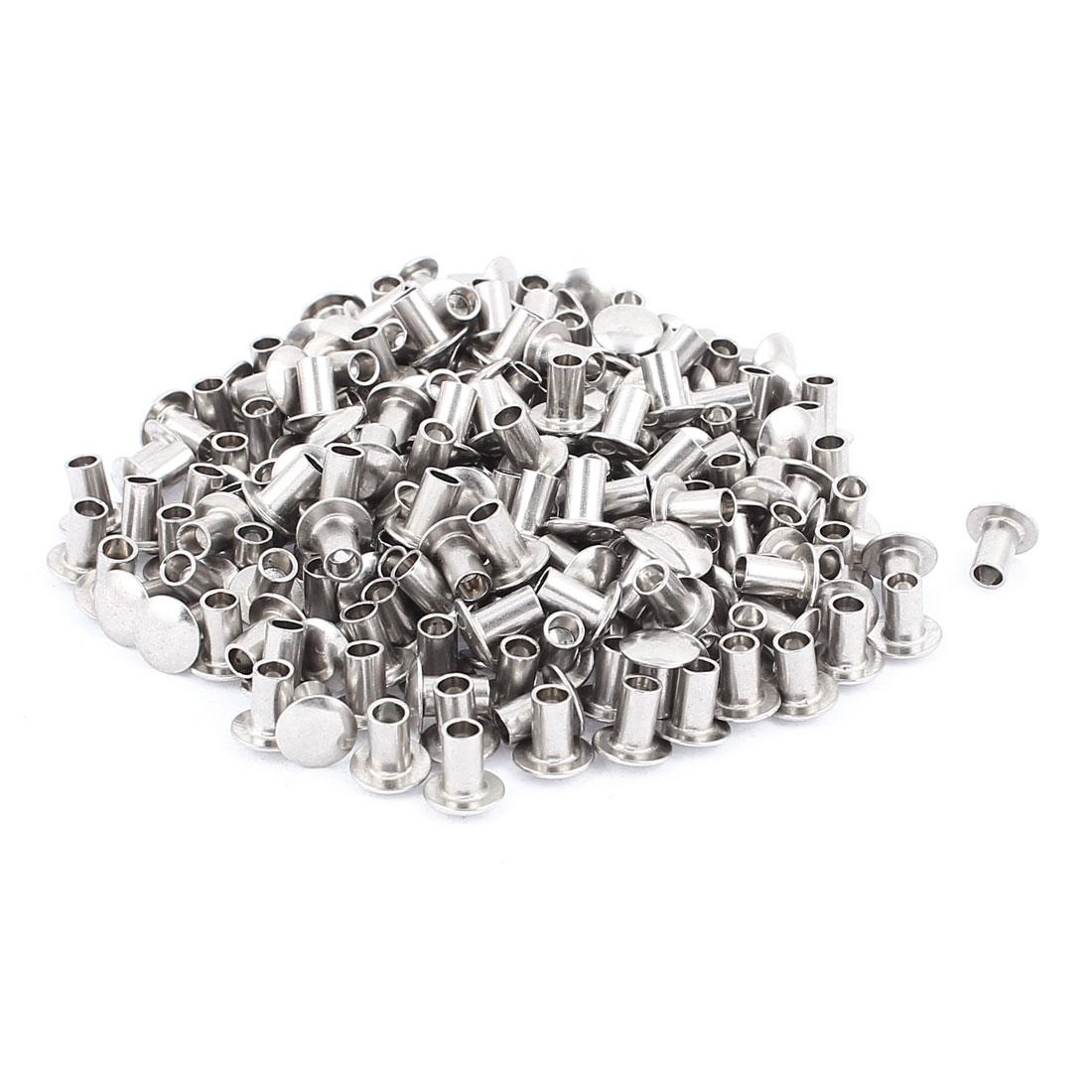 """200 Pcs 13/64"""" x 5/16"""" Nickel Plated Oval Head Semi-Tubular Rivets Silver Tone"""