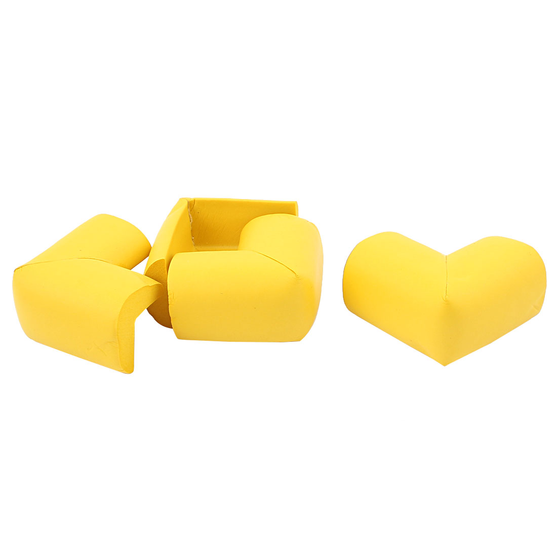 Furniture Table Corner Soft Foam Cushion Protectors Bumpers Yellow 4pcs