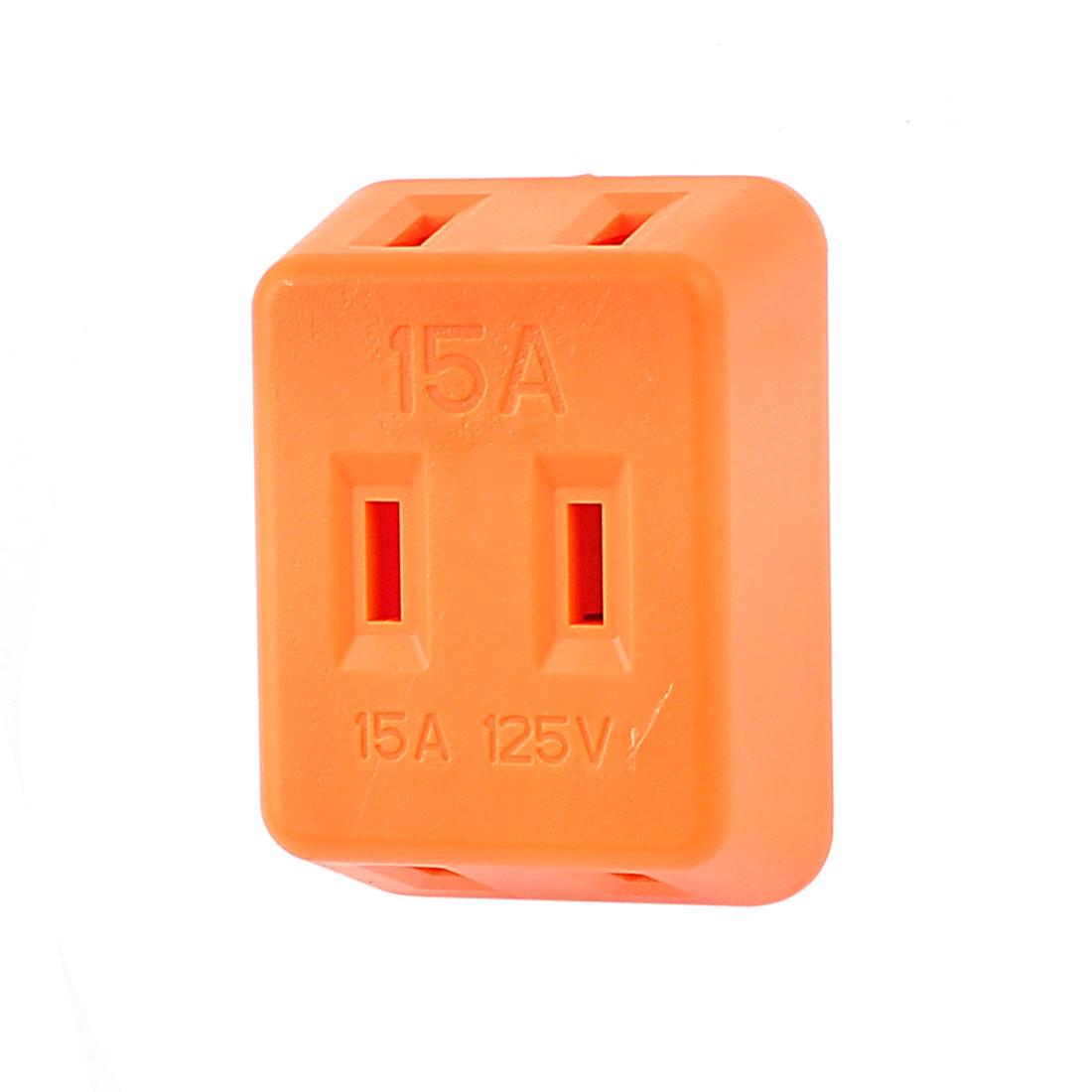 Universal 2 Terminals 3 Ways US Plug Power Socket AC 125V 15A Orange