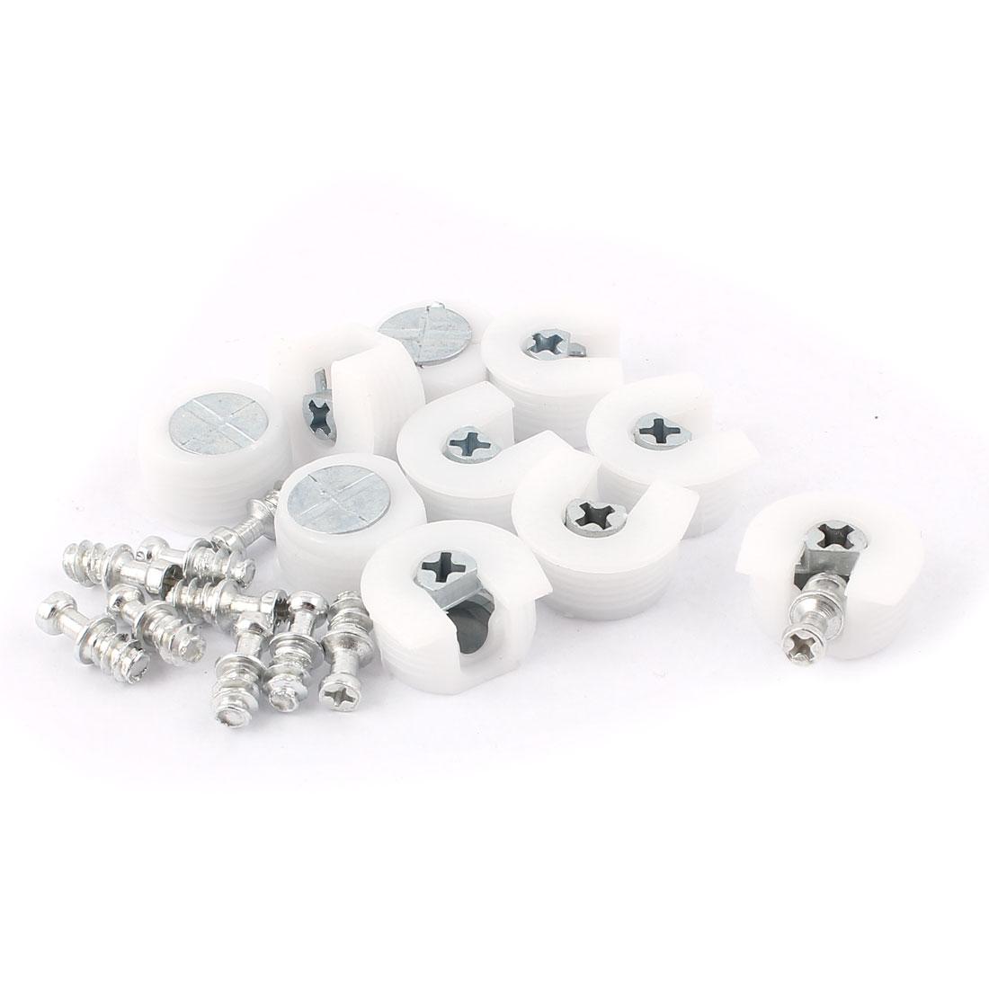 U Shape White Plastic Screw in Shelf Support Pin Peg Supporter 10pcs