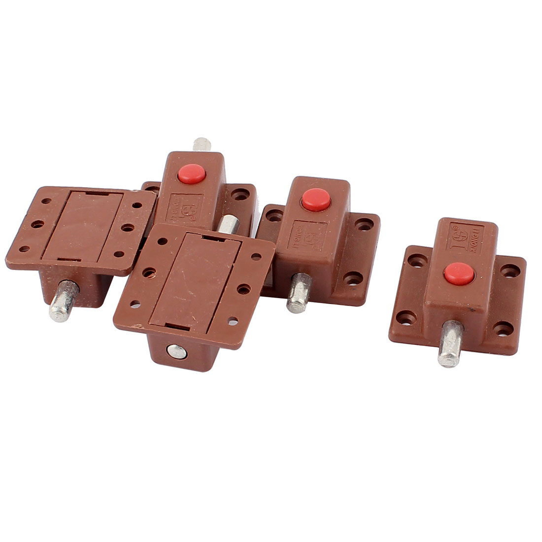 Button Control Cupboard Door Latch Lock Automatic Barrel Bolt Brown 5pcs