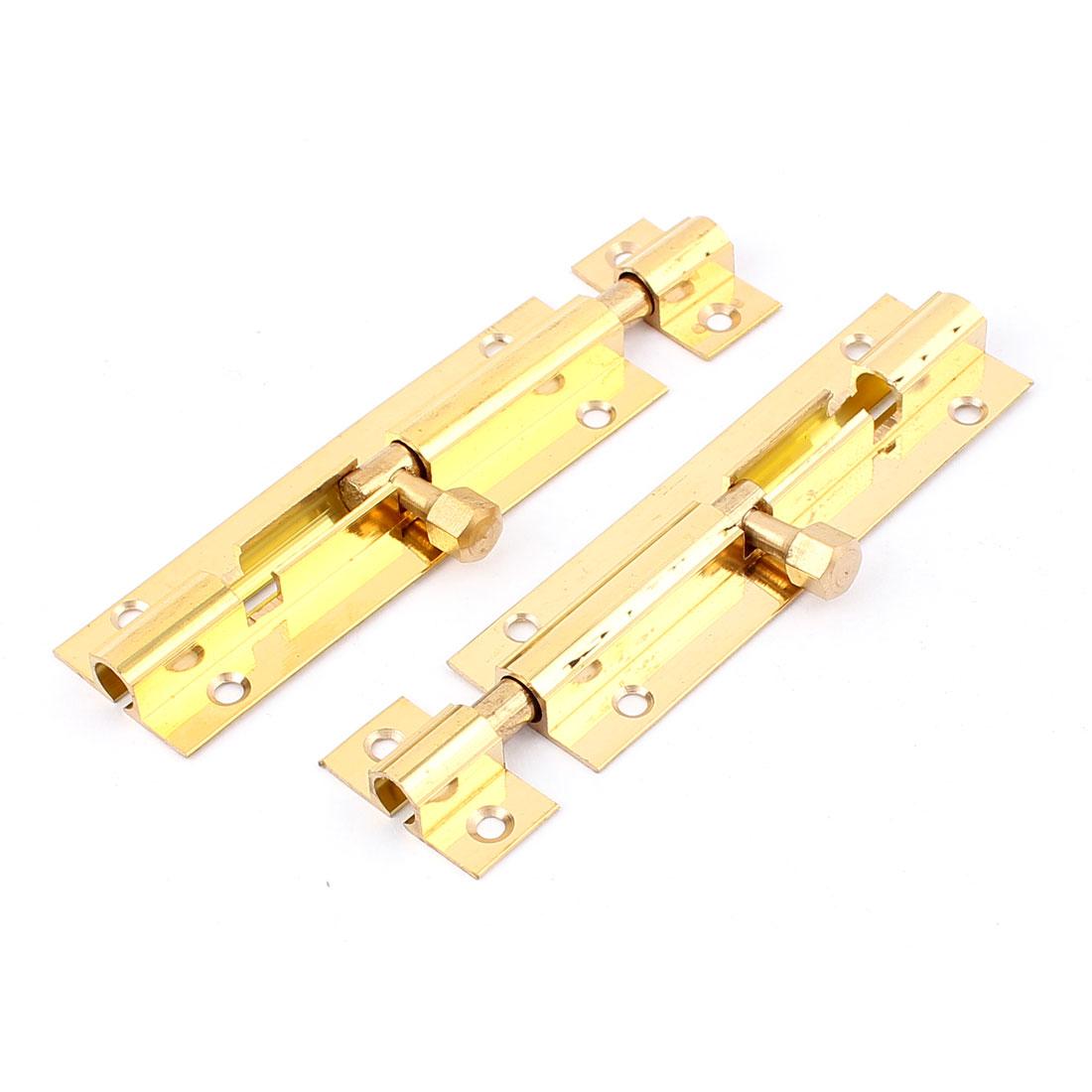"Cabinet Door Lock Latch Slide Barrel Bolt Clasp 3"" Brass Tone"
