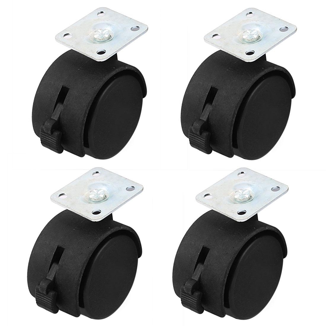 Furniture Double Nylon Wheel Plate Mount Swivel Caster Black Silver Tone 4pcs