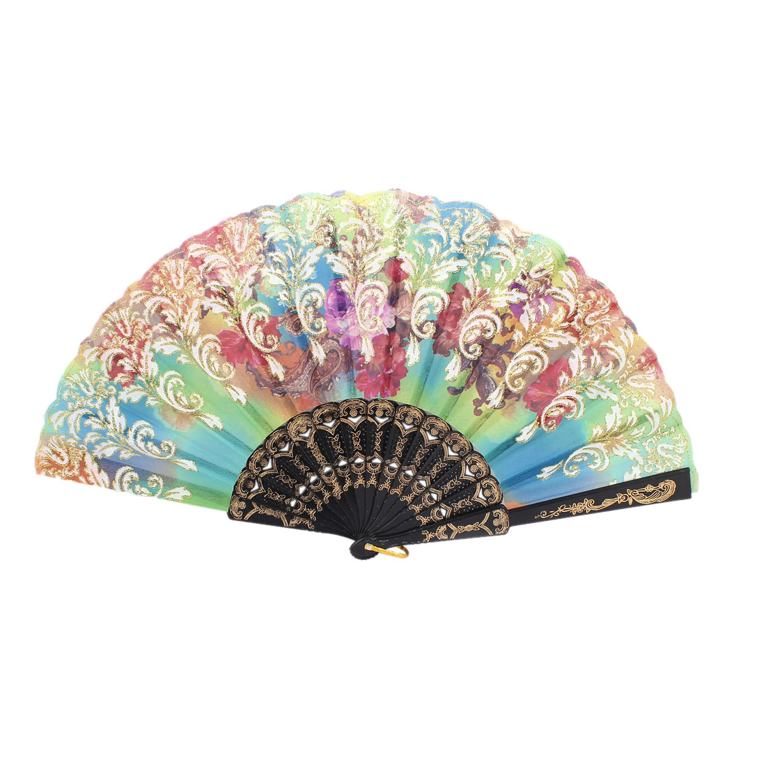 Plastic Frame Flowers Pattern Dancing Wedding Party Women Folding Hand Fan