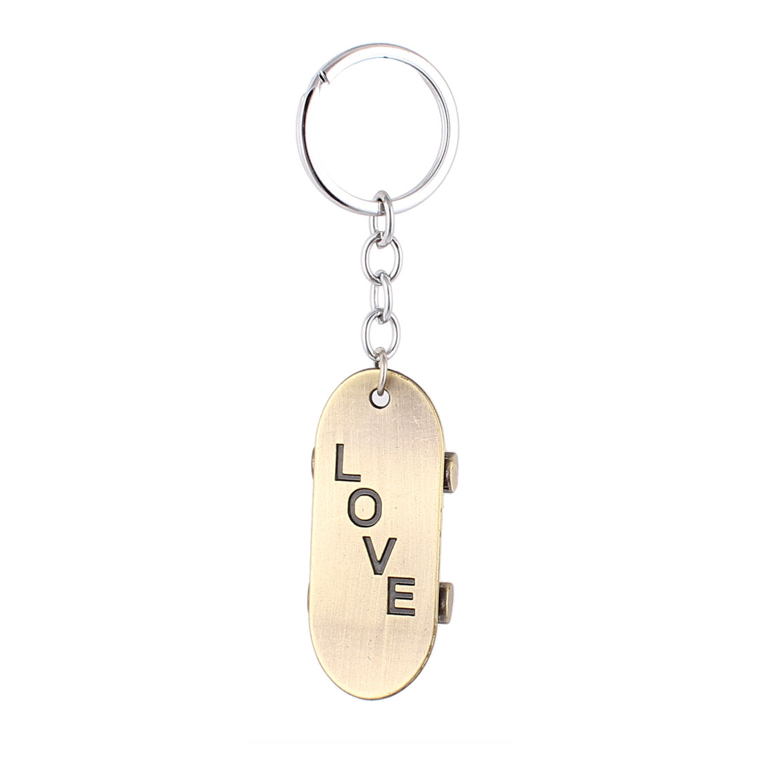 Bronze Tone Skate Shaped Pendant Keyring Keychain Key Ring Ornament 10cm