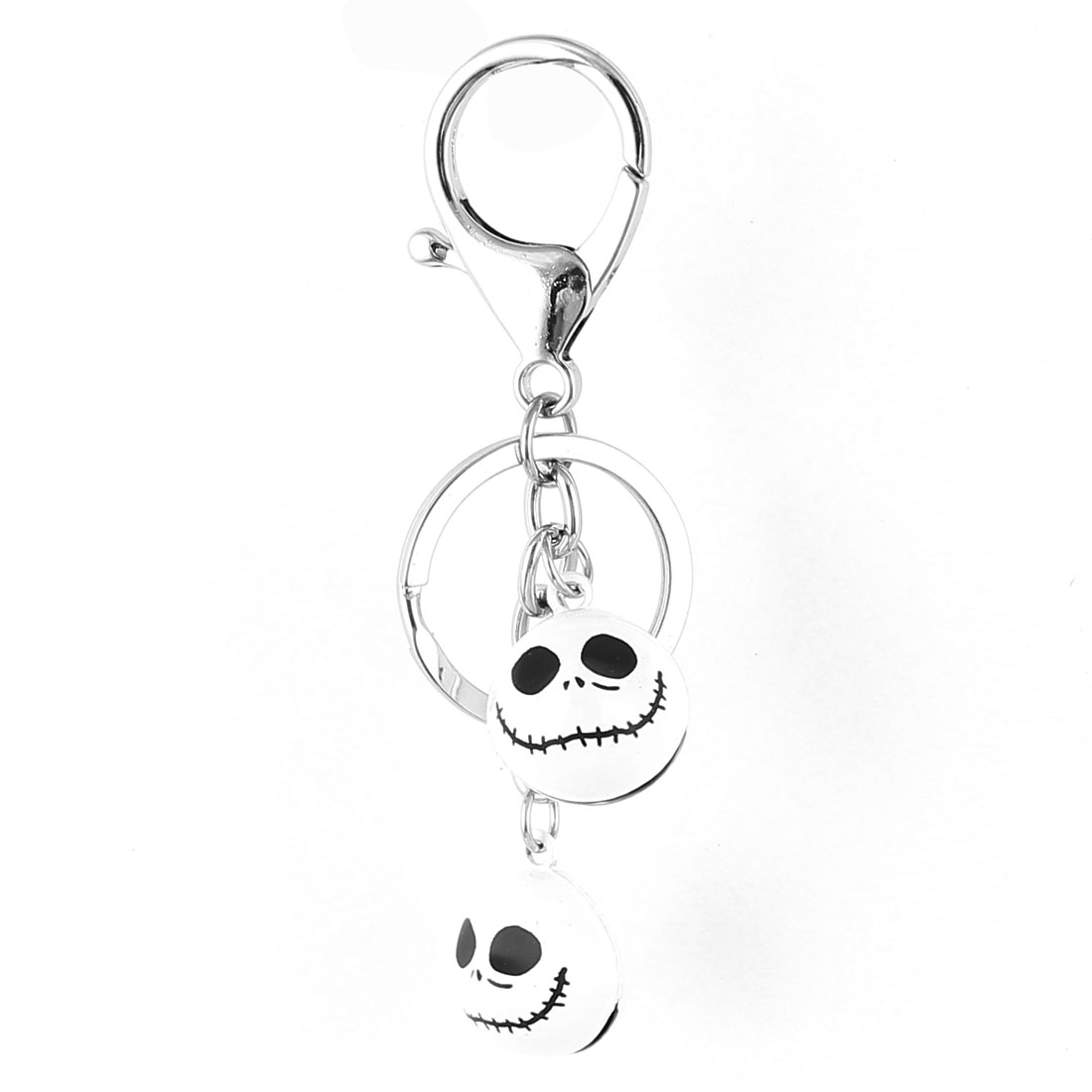 White Double Dangling Bells Decor Key Ring Keychain Keyring 10cm