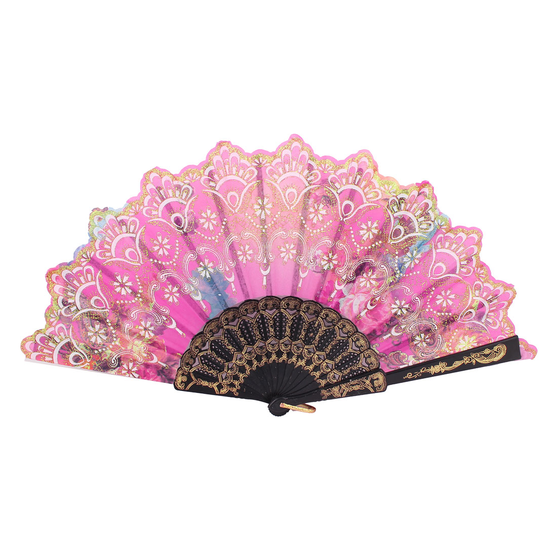 Plastic Frame Flowers Pattern Dancing Wedding Party Fabric Folding Hand Fan