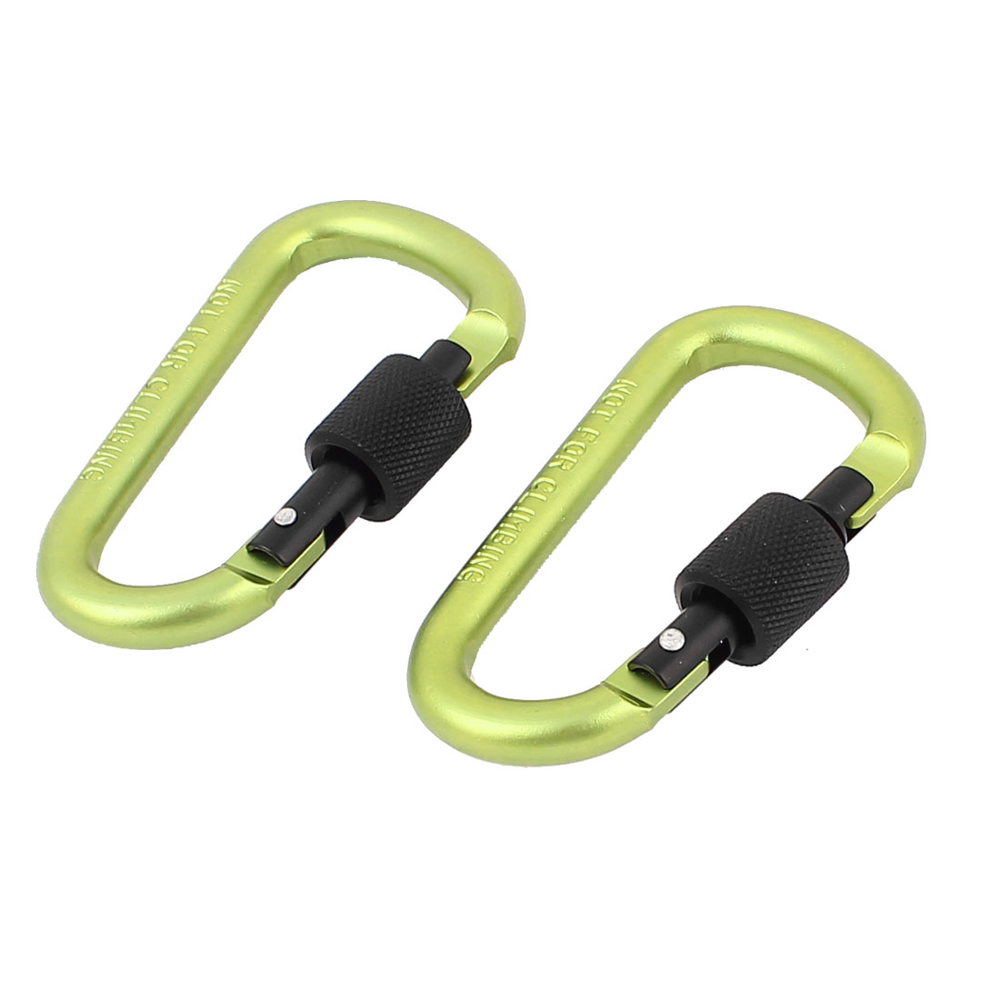 Spring Loaded Screw Locking Snap Carabiner Hook Clip Key Carrier Green 2Pcs