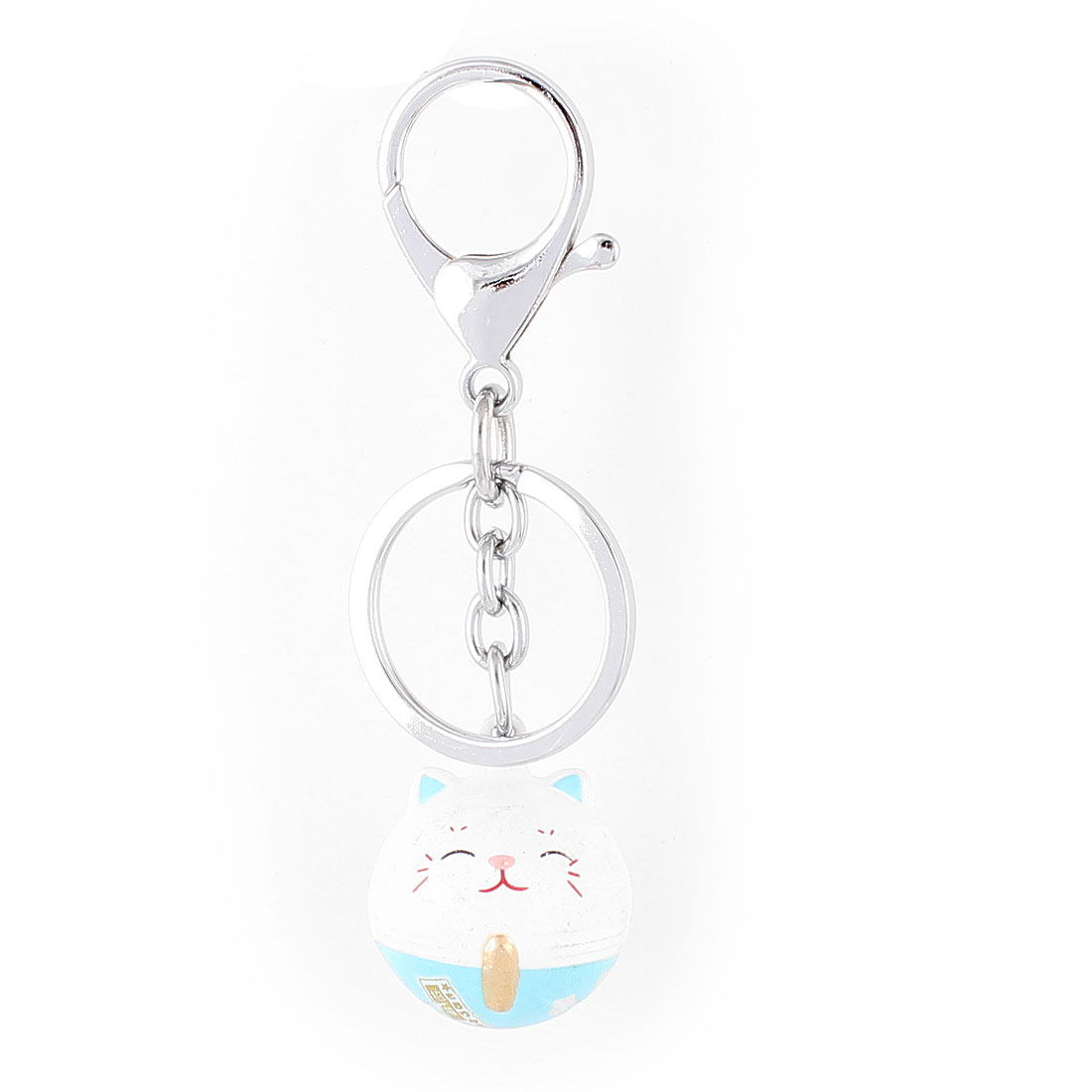 White Blue Dangling Cat Bells Decor Key Ring Keychain Keyring 10cm