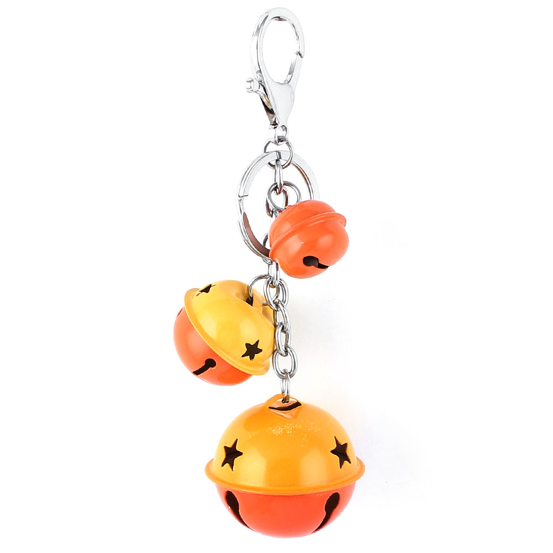 Bells Pendant Swivel Lobster Clasp Keyring Keychain Key Chain Ring Orange Yellow