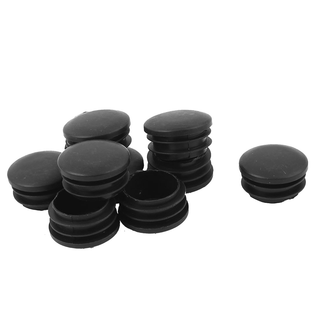 10Pcs Black Plastic Round Blanking End Tube Caps Cover Inserts 33mmx20mm
