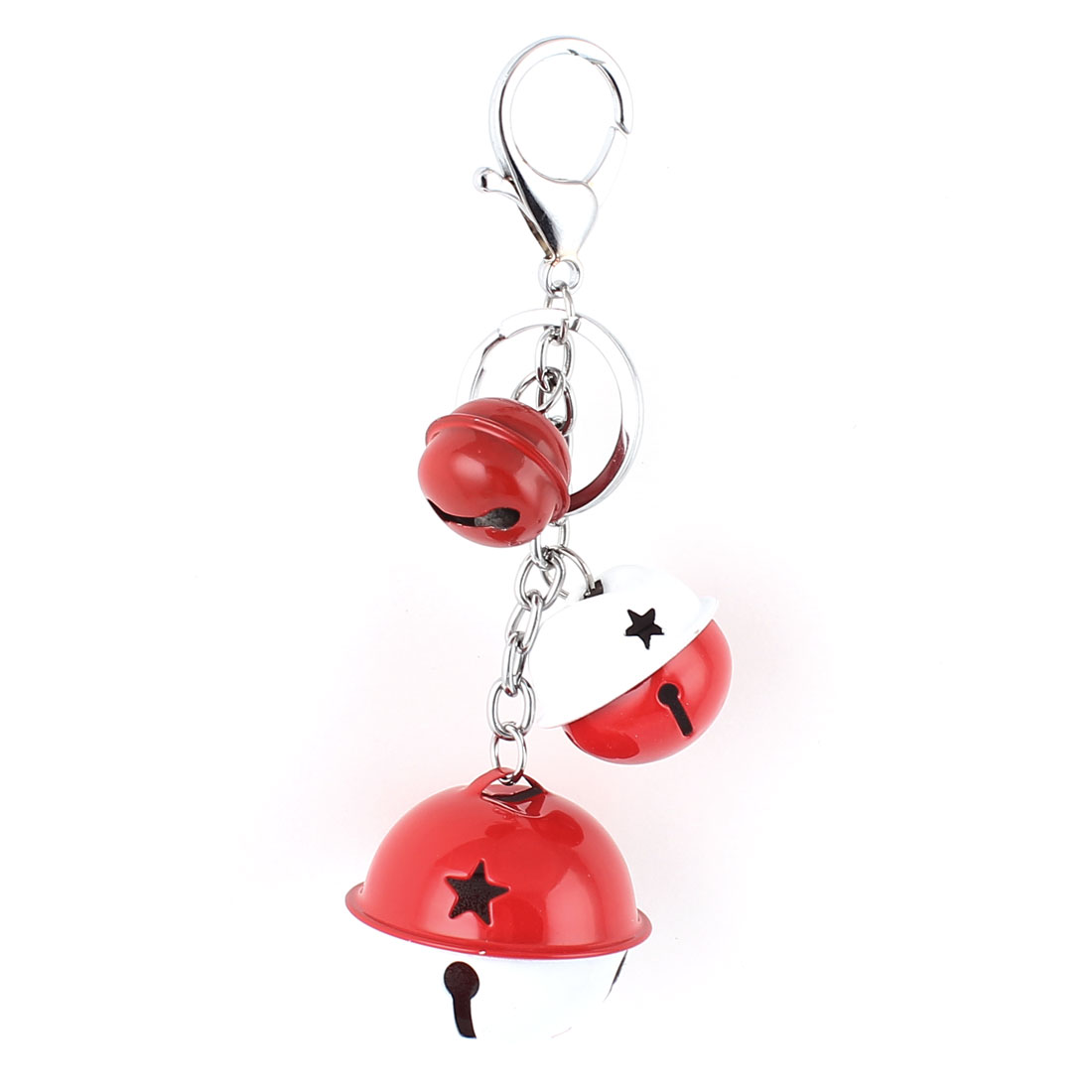 Bells Pendant Swivel Lobster Clasp Keyring Keychain Key Chain Ring Red White
