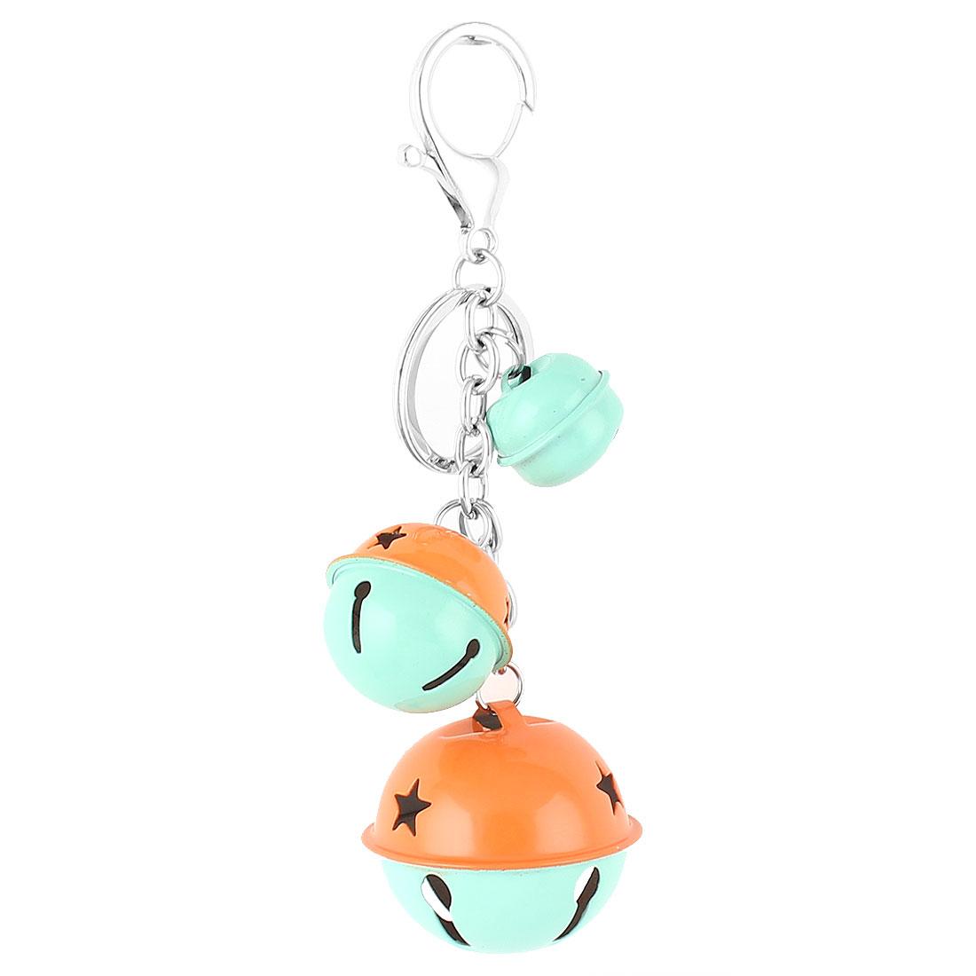 Bells Pendant Swivel Lobster Clasp Keyring Keychain Key Chain Ring Cyan Orange