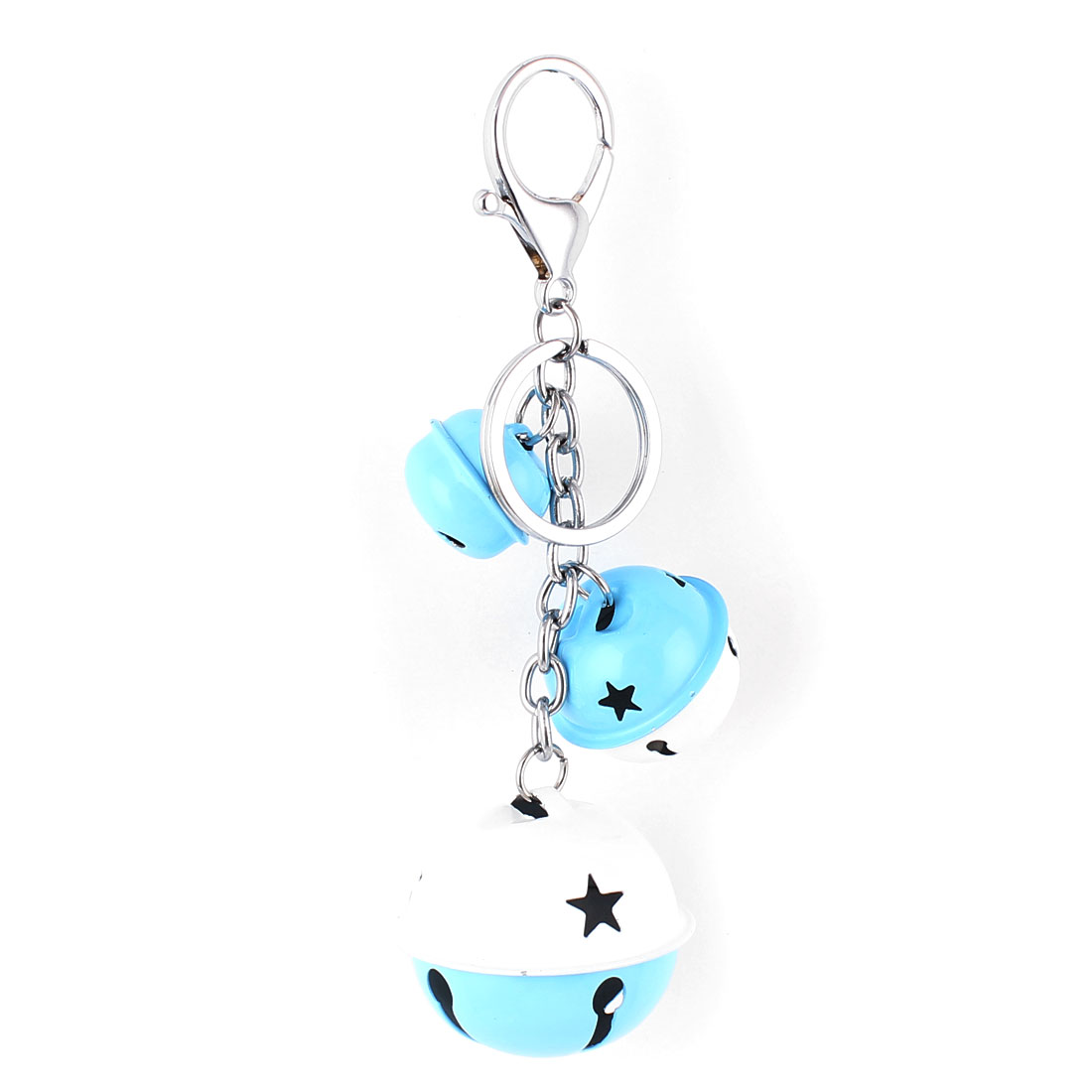 Bells Pendant Swivel Lobster Clasp Keyring Keychain Key Chain Ring White Blue
