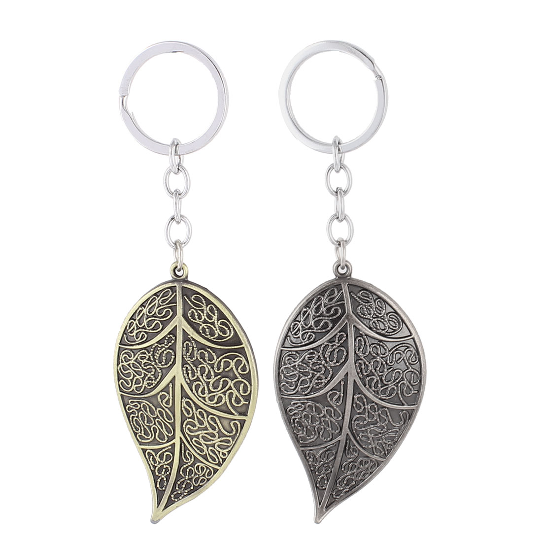 Metal Leaf Shaped Pendant Keyring Keychain Key Ring Ornament 6.5 x 4cm 2Pcs