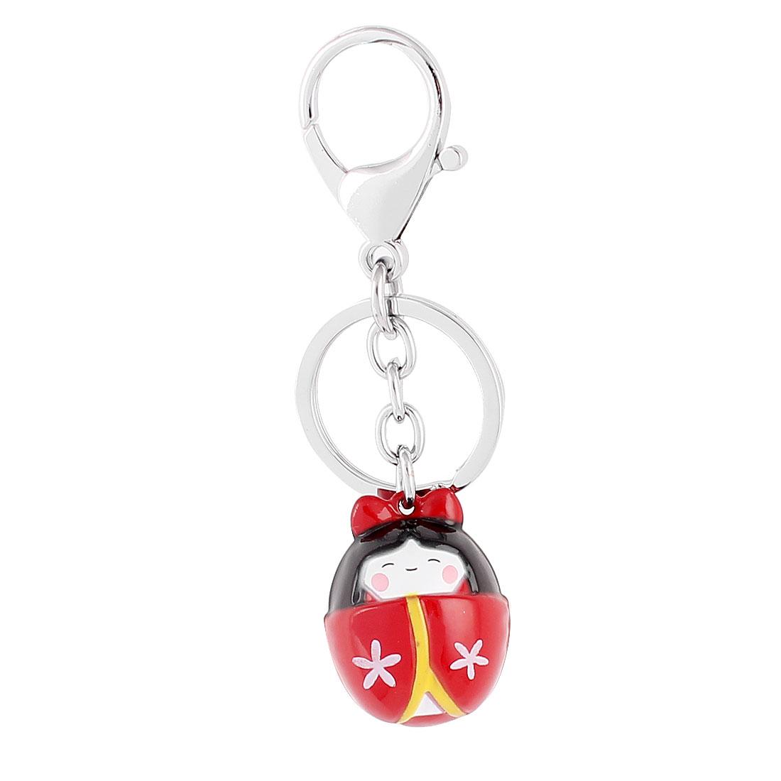 Red Black Dangling Girl Shape Bells Decor Key Ring Keychain Keyring 10cm