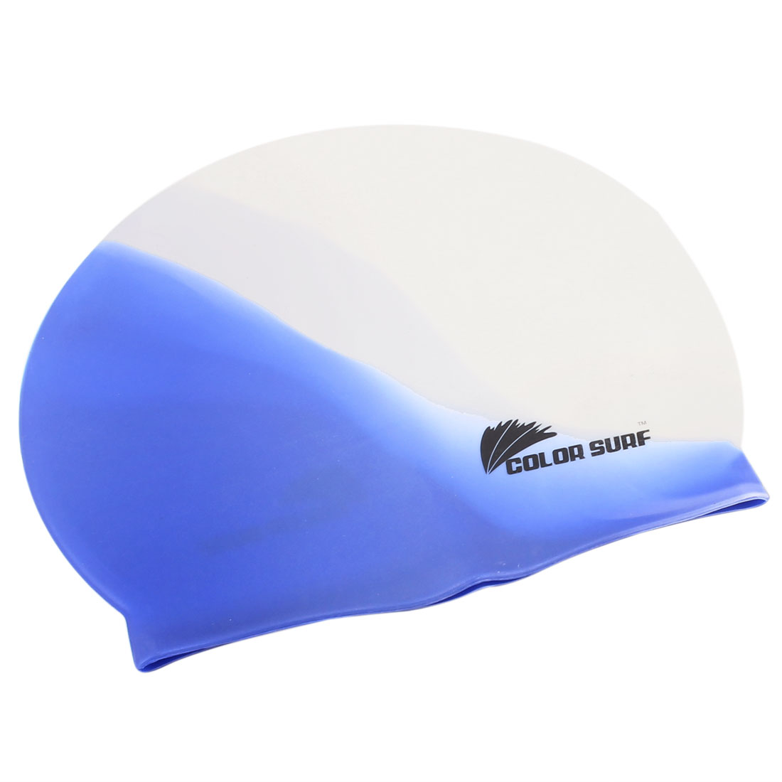 Adult Silicone Dome Shape Swim Swimming Cap Hat Swimwear White Blue