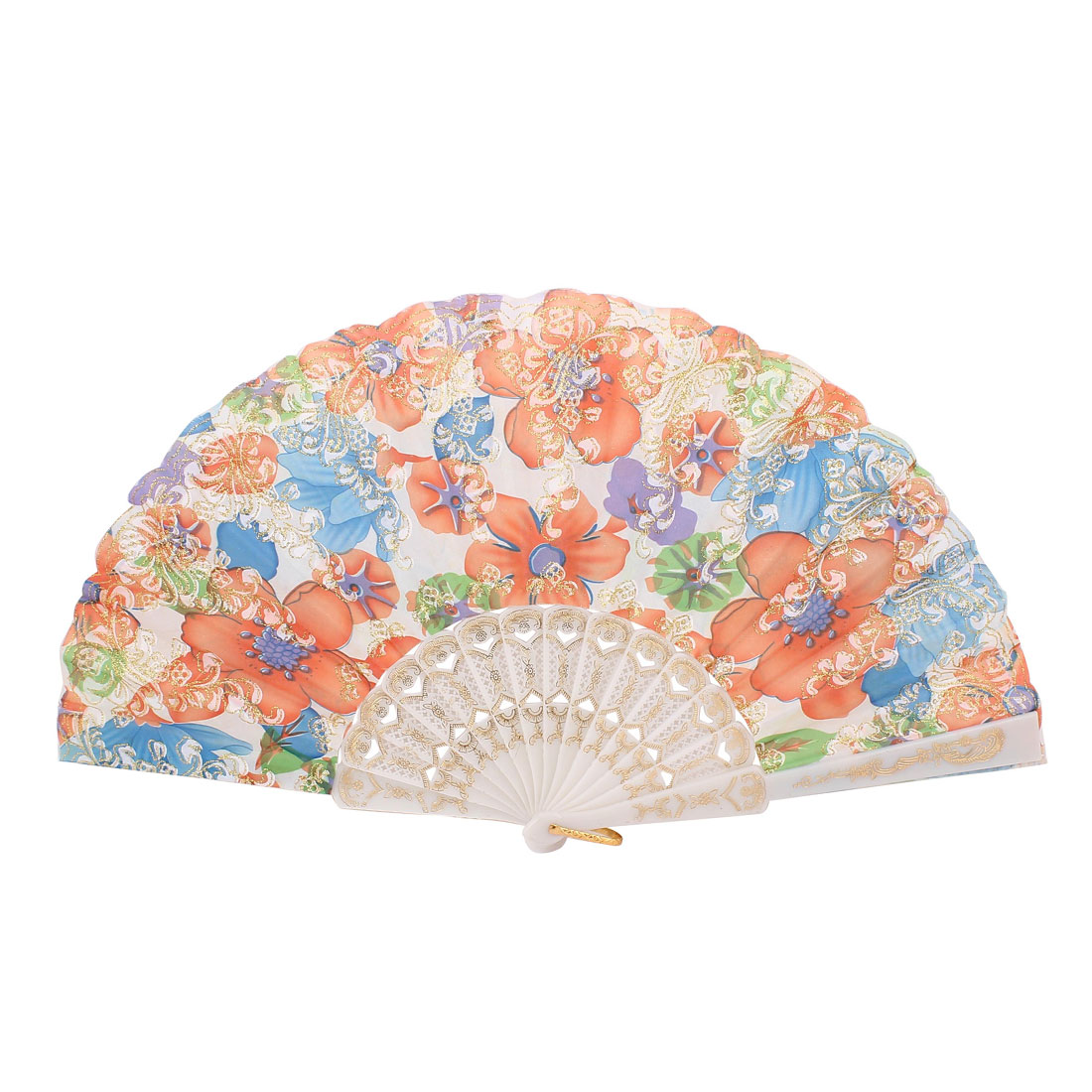 White Frame Flowers Pattern Dancing Wedding Party Fabric Folding Hand Fan