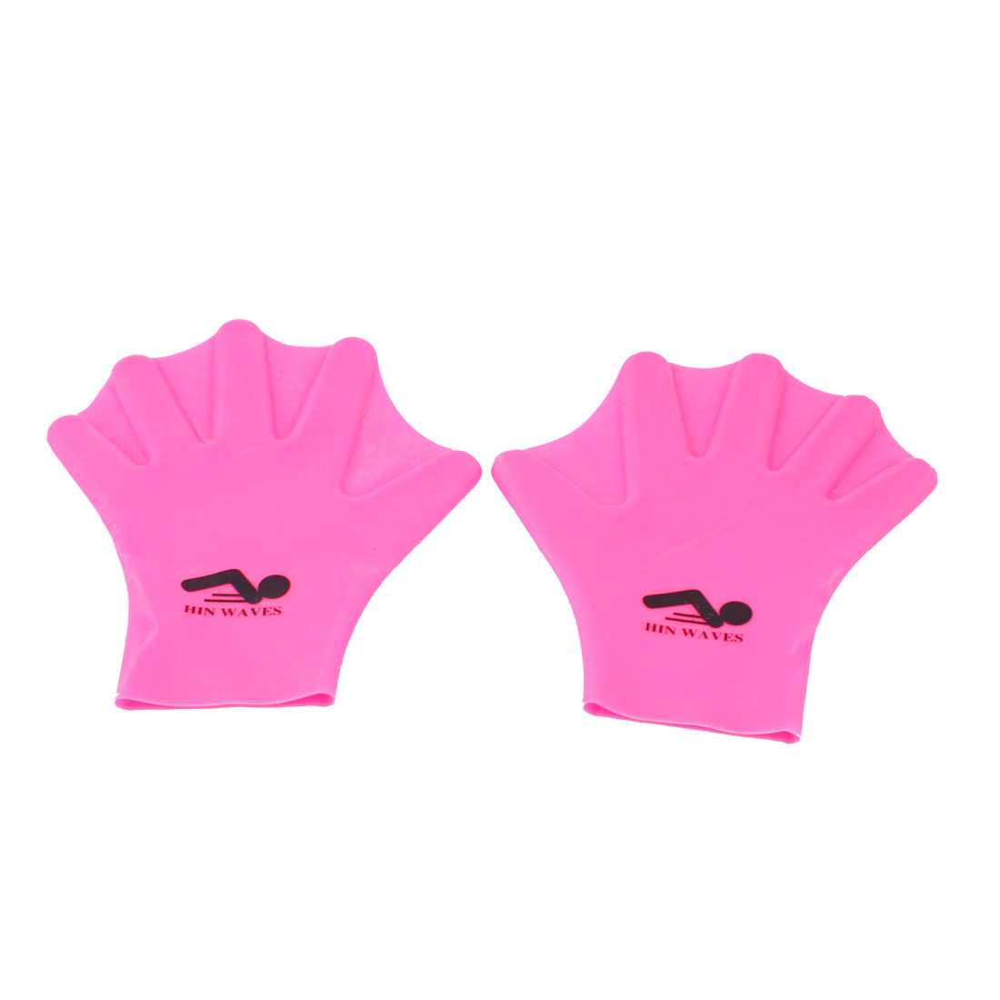 Pair Pink Soft Silicone Adults Swimming Diving Paddles Webbed Gloves