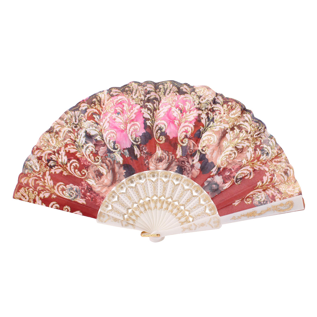 Glitter Powder Flowers Pattern Dancing Wedding Party Lady Folding Hand Fan